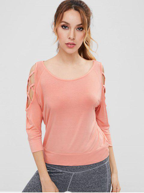 Gitter-kaltes Schulter-athletisches T-Stück - Orange Rosa L Mobile