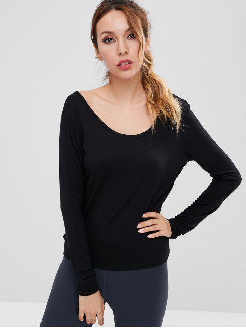 women Long Sleeve Open Back Sports Tee - BLACK S Mobile