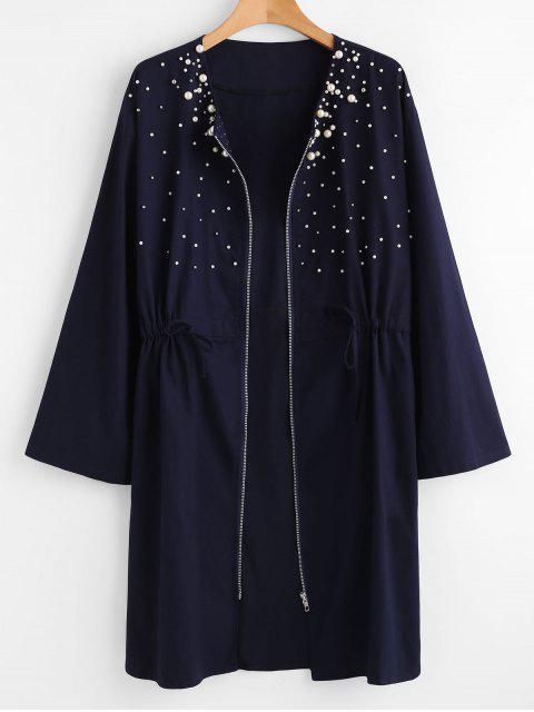Manteau Perlé Zippé de Grande Taille - Bleu de Minuit 4X Mobile