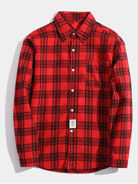 trendy Chest Pocket Patch Detail Plaid Shirt - RED XS Mobile