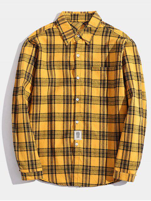 fashion Chest Pocket Patch Detail Plaid Shirt - YELLOW XS Mobile