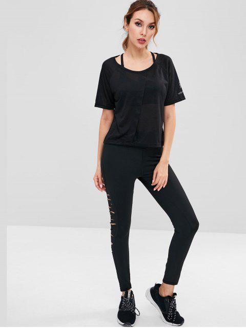 T-shirt Graphique à Manches Raglan - Noir M Mobile