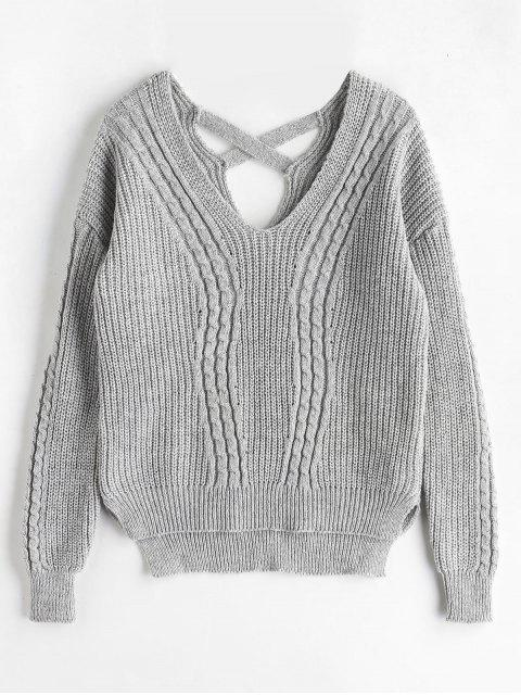 Kreuz zurück Kabel stricken Fischer Pullover - Grau Eine Größe Mobile