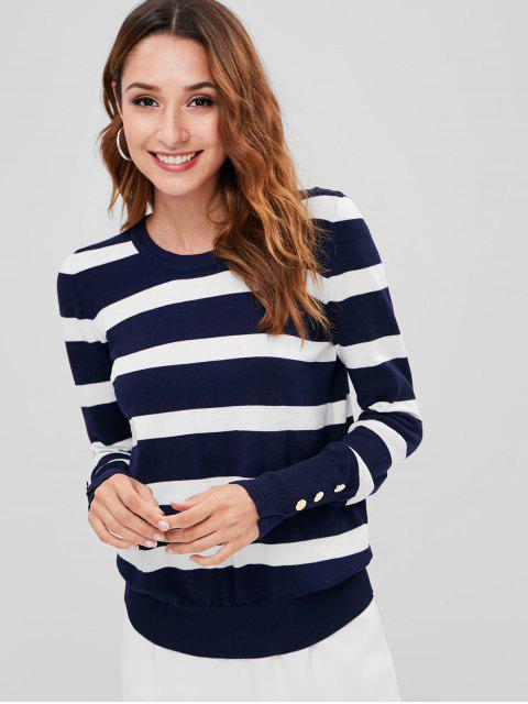 women Knitted Striped Sweater - MULTI L Mobile