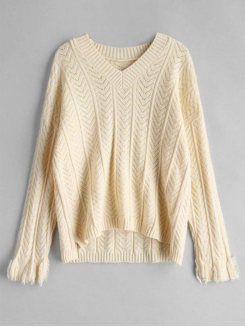Pull en tricot à chevrons - Abricot Taille Unique Mobile