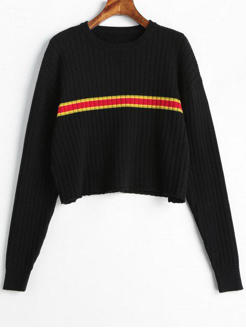 women's Pullover Stripes Panel Sweater - BLACK ONE SIZE Mobile