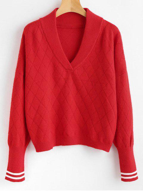Schalkragen gestreiften Pullover - Rot Eine Größe Mobile