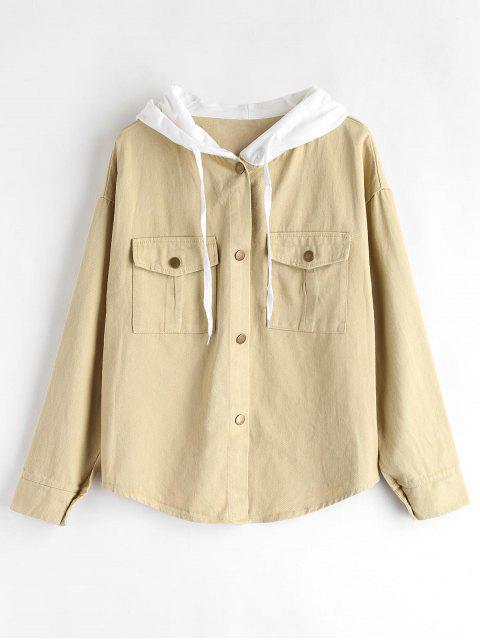 Druckknopf-Kontrast-Jacke - Aprikose Eine Größe Mobile
