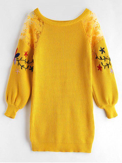 Suéter de la túnica del panel del cordón y del bordado - Amarillo Talla única Mobile