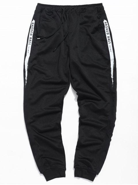buy Letter Paint Drawstring Jogger Pants - BLACK XL Mobile