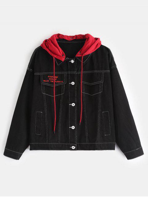 Kontrastierende abnehmbare Kapuze Jeansjacke - Schwarz Eine Größe Mobile