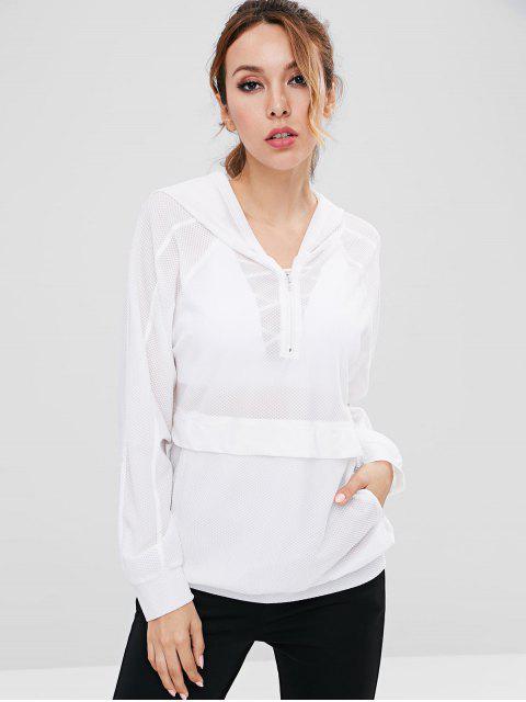 Sudadera con capucha Half Zip Mesh Sports Gym - Blanco S Mobile