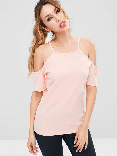 Tee-shirt de sport ZAFUL à épaules dénudées - ROSE PÂLE M Mobile