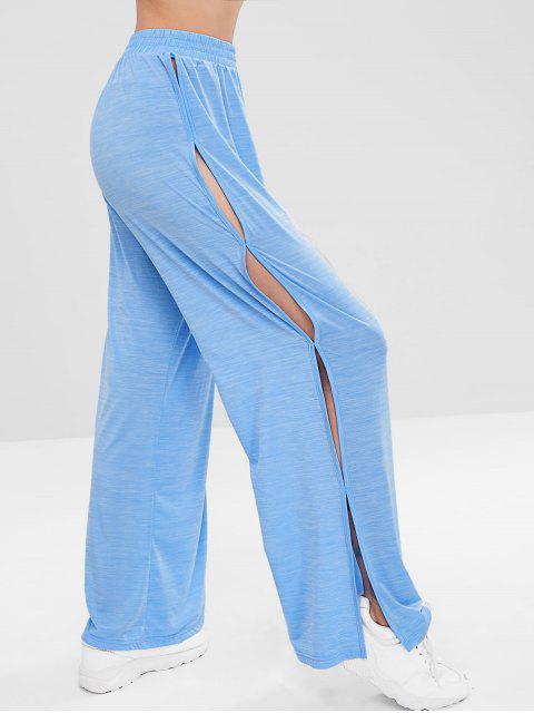 best ZAFUL Slit Wide Leg Sports Pants - BUTTERFLY BLUE L Mobile