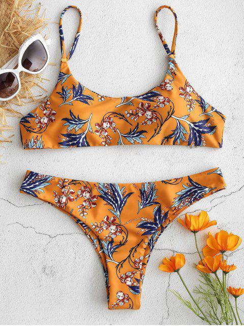 shop ZAFUL Plant Print Bralette Bikini - SCHOOL BUS YELLOW S Mobile