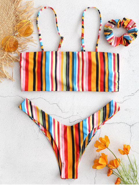 latest ZAFUL Colorful Striped Cami Bikini with Headband - MULTI S Mobile