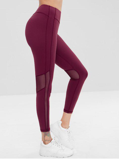 ladies ZAFUL Mesh Insert Sports Gym Leggings - RED WINE L Mobile