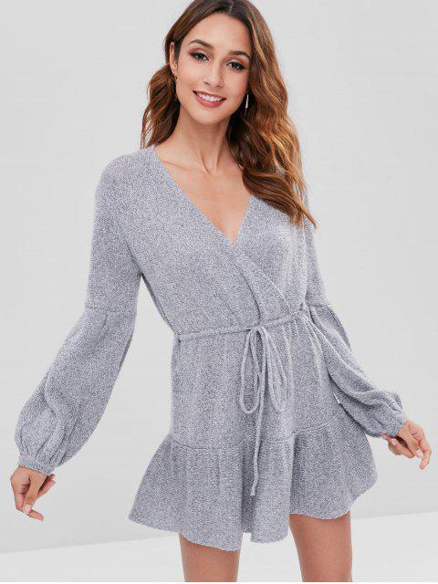 Vestido de suéter de manga larga Surplice - Gris L Mobile