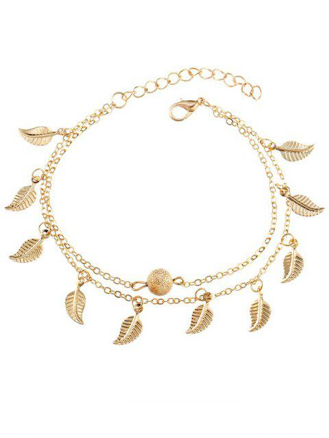 shop Double Layer Metal Leaf Ankle Bracelet - GOLD  Mobile