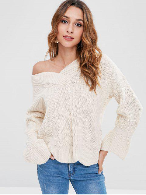 ladies Bell Sleeve V Neck  Sweater - BEIGE ONE SIZE Mobile