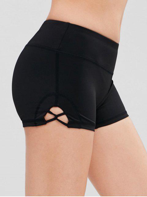 fashion Lattice Detail Gym Workout Bike Shorts - BLACK L Mobile