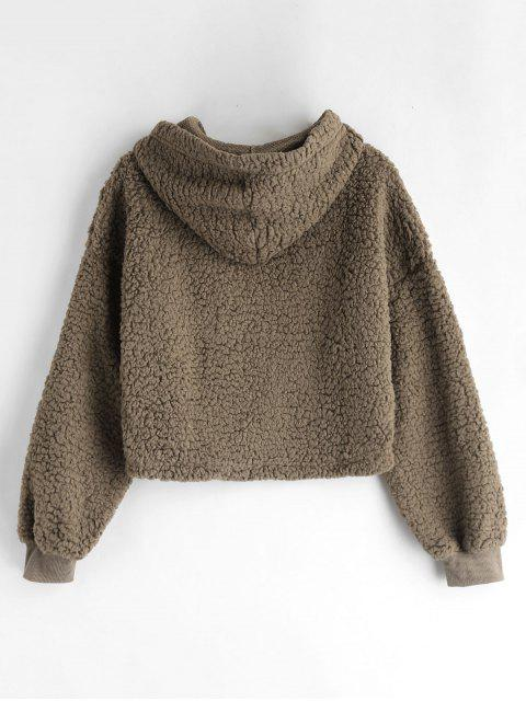latest Drop Shoulder Fluffy Boxy Hoodie - COFFEE S Mobile