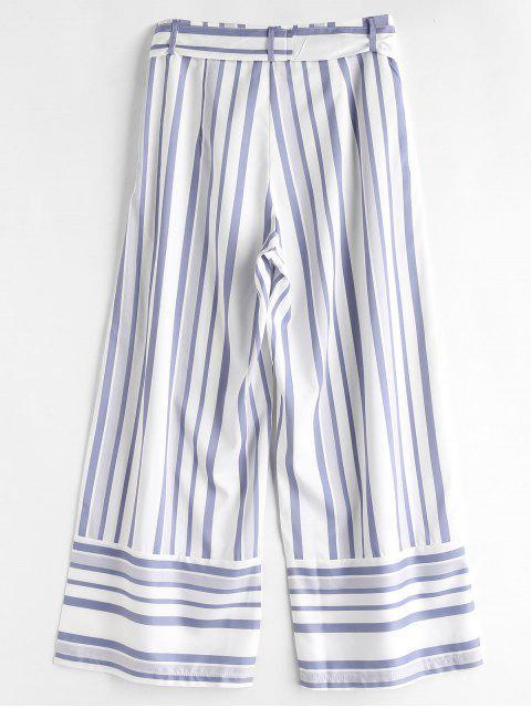 Pantalones de pierna ancha con rayas con cinturón - Blanco L Mobile