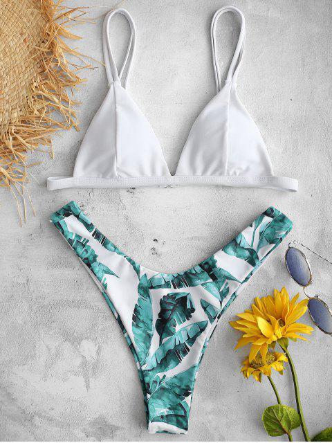 ladies ZAFUL Tropical Leaves Printed Bikini Set - WHITE S Mobile