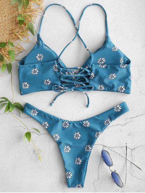 hot ZAFUL Floral Lace-up Bikini Set - PEACOCK BLUE L Mobile