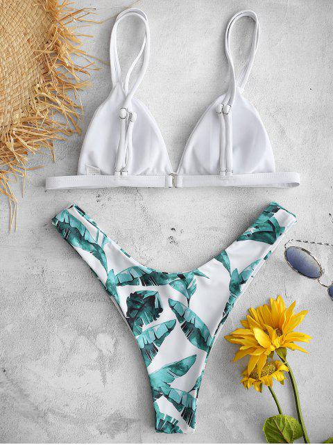 online ZAFUL Tropical Leaves Printed Bikini Set - WHITE L Mobile