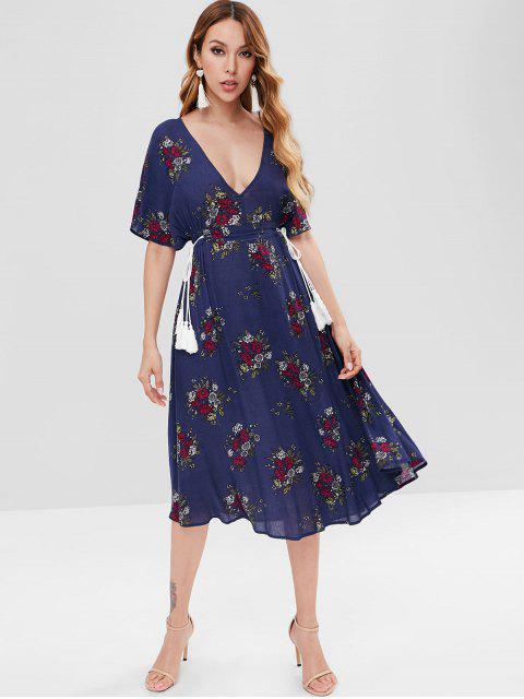 Vestido a media pierna corte floral murciélago - Azul de Medianoche S Mobile