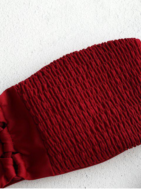 unique ZAFUL Smocked Criss Cross Bandeau Bikini Set - RED WINE L Mobile