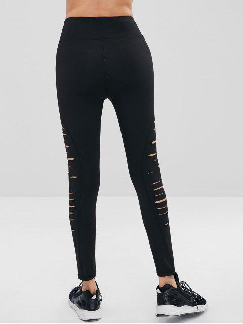 Leggings deportivos de cintura alta rasgados desgastados - Negro S Mobile