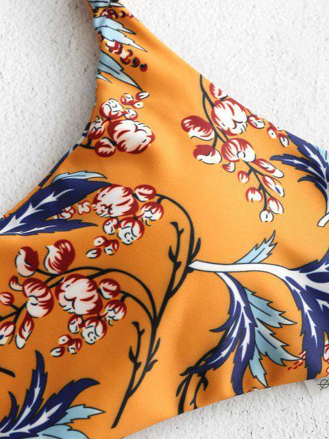 trendy ZAFUL Plant Print Bralette Bikini - SCHOOL BUS YELLOW M Mobile