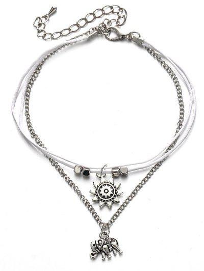 Multilayers Metal Elephant Ankle Bracelet Silver