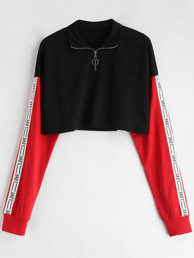 Graphic Zipped Color Block Cropped Sweatshirt - Black L