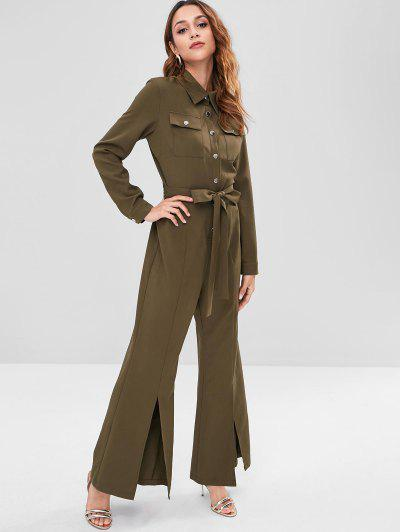 ZAFUL Long Sleeve Belted Shirt Jumpsuit - Army Green M