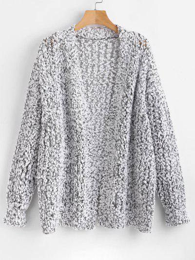 Heathered Loose Knit Cardigan - White M