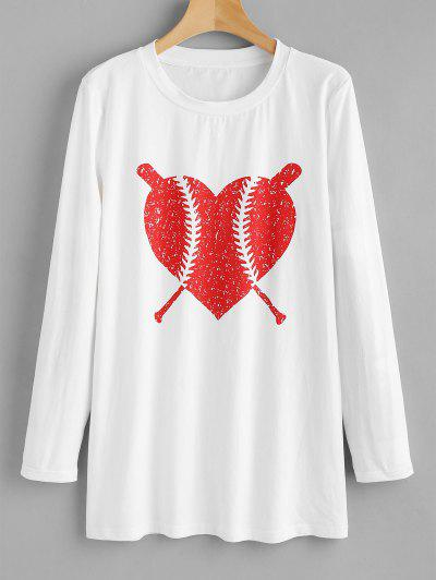 ZAFUL Long Sleeve Heart Graphic Tee - White L