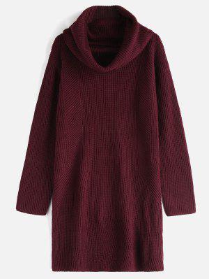 Cowl Neck Langarm Pullover Kleid