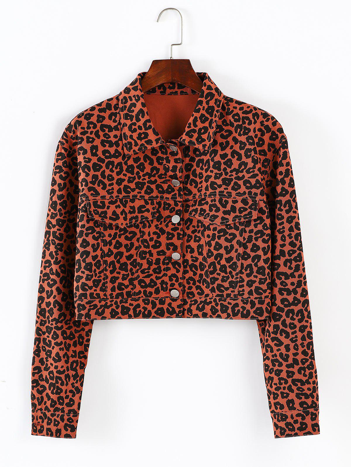 ZAFUL Button Up Leopard Cropped Jacket