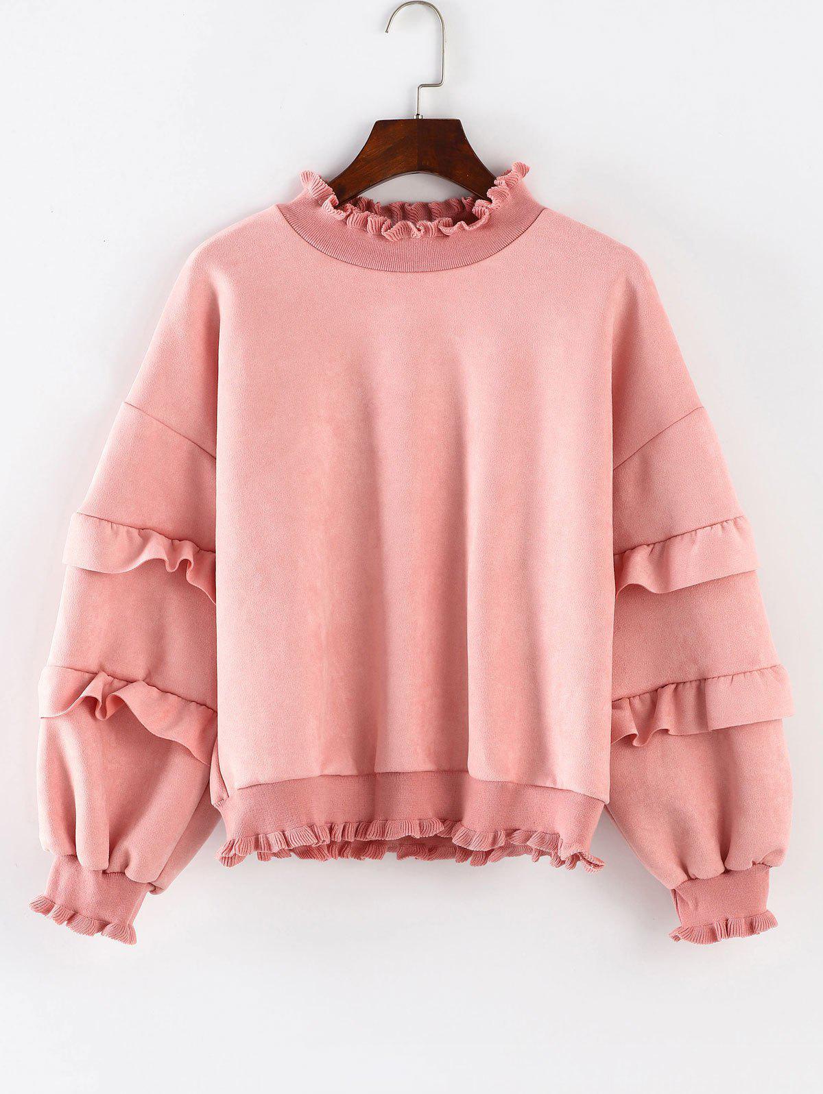 Drop Shoulder Ruffles Sweatshirt, Pink