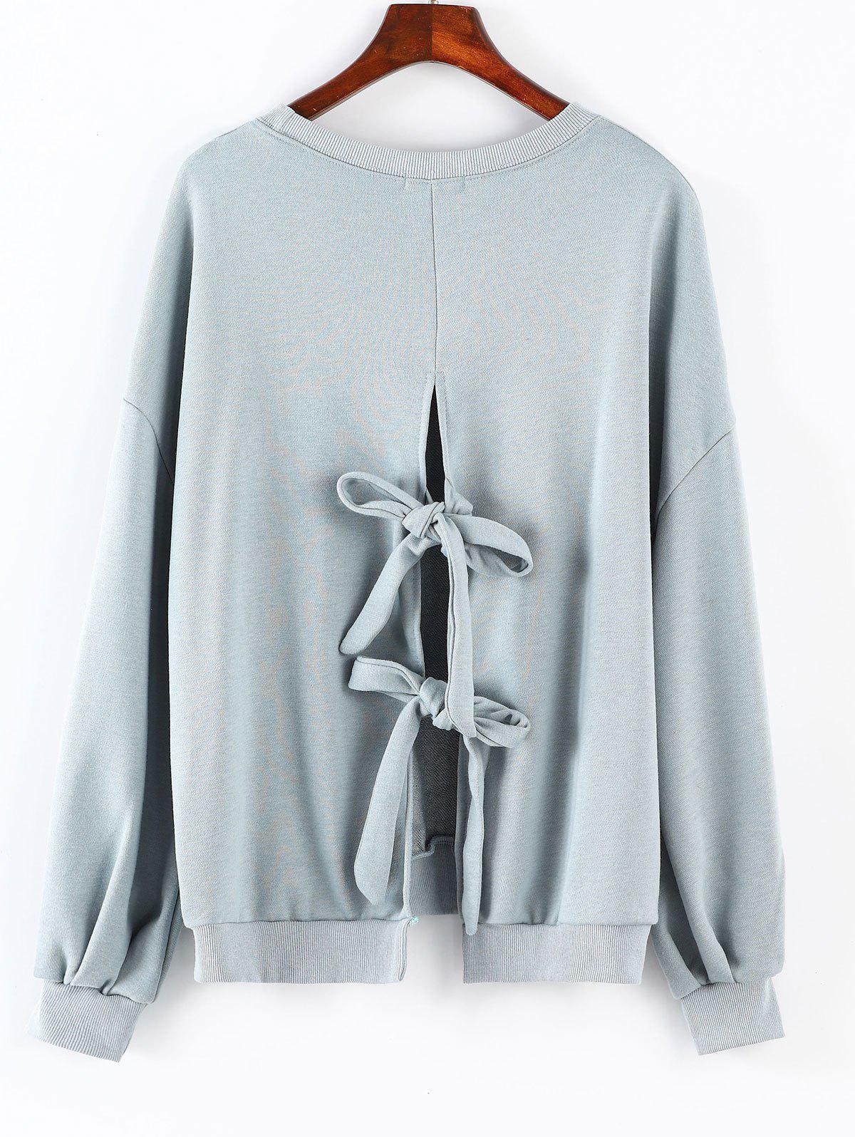Round Neck Back Knotted Sweatshirt