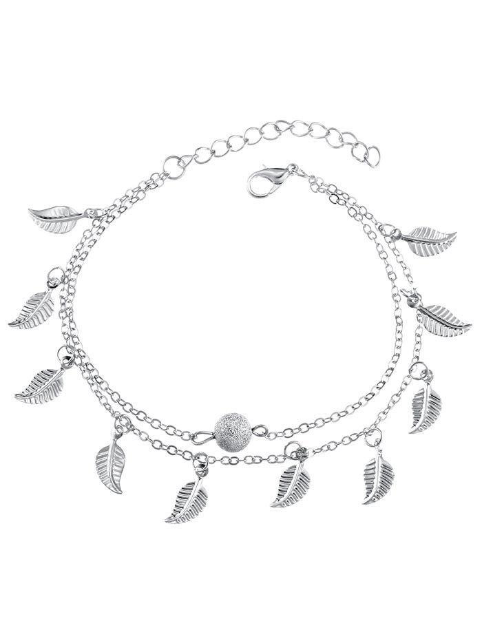 Double Layer Metal Leaf Ankle Bracelet