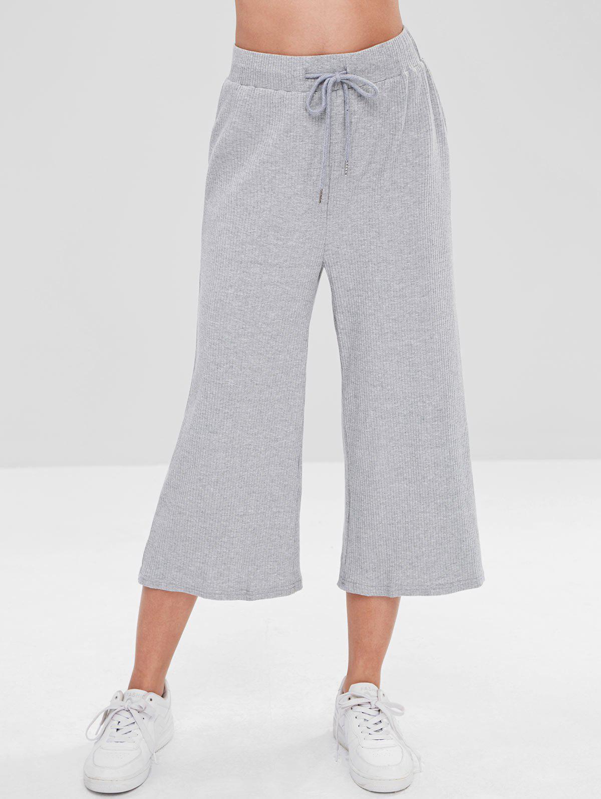 ZAFUL Ribbed Wide Leg Capri Pants, Gray