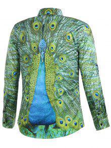 M Estampada Con Verde Helecho Cubiertos Camisa Pavo Casual Real De Botones 6v57gq