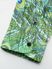 Botones De Verde Estampada Casual Camisa Cubiertos Real Helecho Con Pavo M 61XB0xq8w