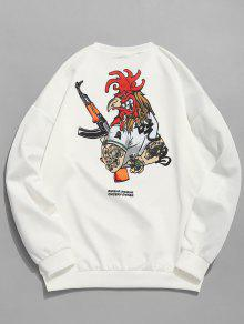 Sudadera Blanco Casual China Manga M Con Estampada Larga rtRqwYr