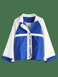Cobalto Azul Color Block Bordada Chaqueta wqOttITnB