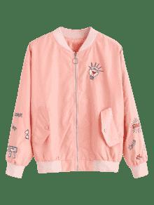 Cremallera Chaqueta Bordada Naranja Rosa Xl De Con Bombardero qx1IU
